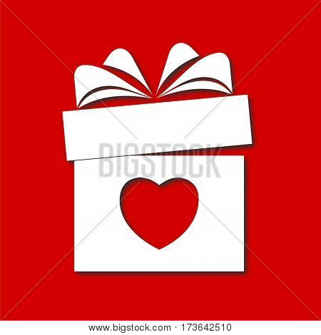 Valentine's day concept illustration with gift box and heart symbol