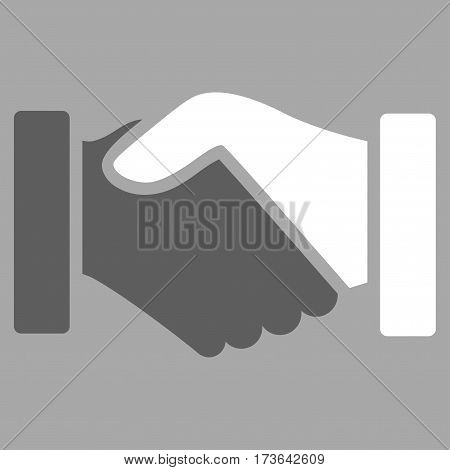 Acquisition Handshake vector icon. Flat bicolor dark gray and white symbol. Pictogram is isolated on a silver background. Designed for web and software interfaces.