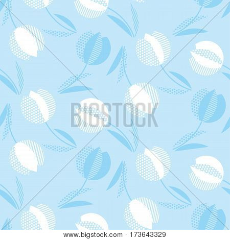 blue holland style tulip flower seamless pattern. modern geometric floral vector illustration for for fabric, wrapping paper, background.