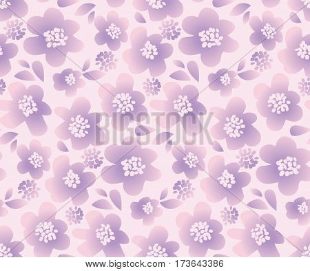 lilac color summer floral vector illustration in retro 60s style. abstract hand drawn flowers seamless pattern for fabric, wrapping paper.