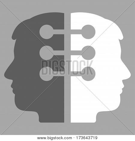 Dual Head Interface vector icon. Flat bicolor dark gray and white symbol. Pictogram is isolated on a silver background. Designed for web and software interfaces.