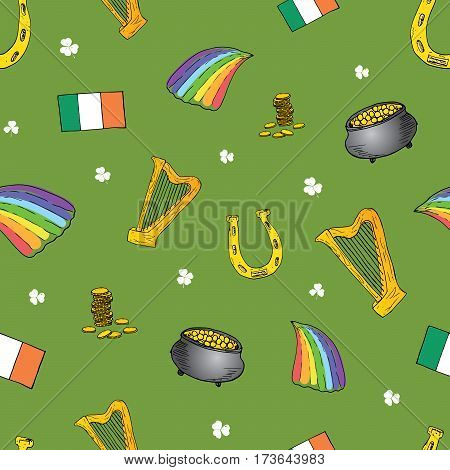 St Patrick's Day hand drawn doodle set with leprechaun pot of gold coins rainbow beer four leaf clover horseshoe celtic harp and flag of Ireland vector illustration isolated on white