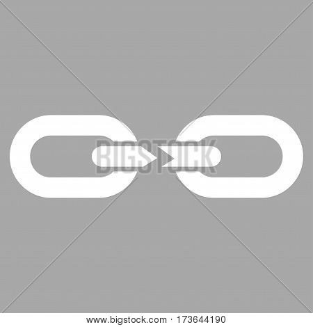 Chain Break vector icon. Flat white symbol. Pictogram is isolated on a silver background. Designed for web and software interfaces.