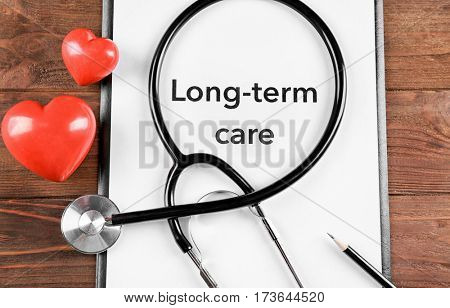LONG TERM CARE information closeup. Medical concept