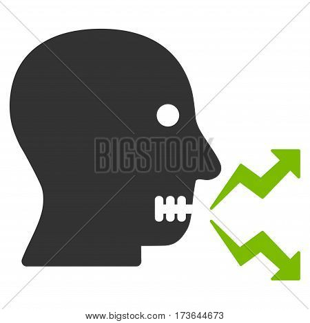 Angry Person Shout vector icon. Flat bicolor eco green and gray symbol. Pictogram is isolated on a white background. Designed for web and software interfaces.
