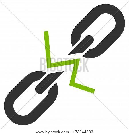 Broken Chain Link vector icon. Flat bicolor eco green and gray symbol. Pictogram is isolated on a white background. Designed for web and software interfaces.