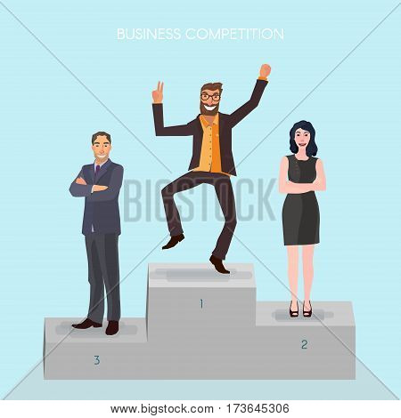pedestal with business people standing on it, the winner is very happy