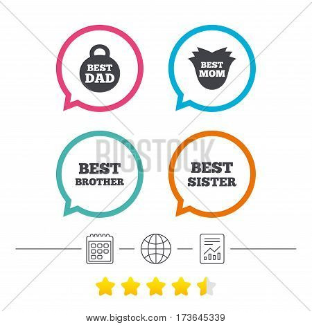 Best mom and dad, brother and sister icons. Weight and flower signs. Award symbols. Calendar, internet globe and report linear icons. Star vote ranking. Vector