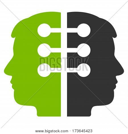 Dual Head Interface vector icon. Flat bicolor eco green and gray symbol. Pictogram is isolated on a white background. Designed for web and software interfaces.