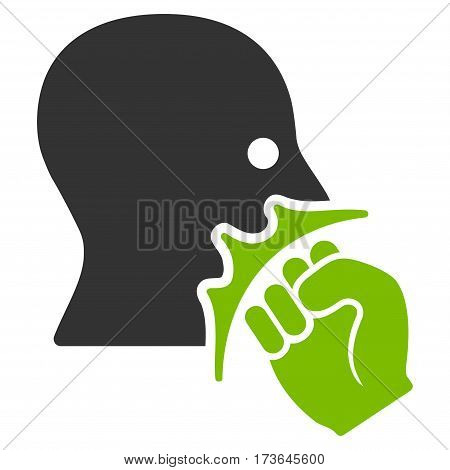 Face Violence Strike vector icon. Flat bicolor eco green and gray symbol. Pictogram is isolated on a white background. Designed for web and software interfaces.
