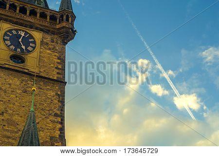 Prague Astronomical Clock. Clock Tower. At Sunset.