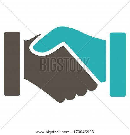 Acquisition Handshake vector icon. Flat bicolor grey and cyan symbol. Pictogram is isolated on a white background. Designed for web and software interfaces.