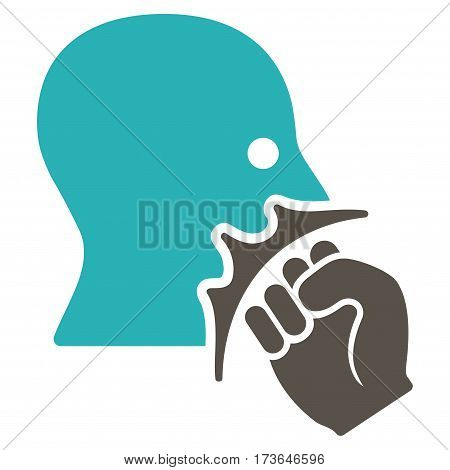 Face Violence Strike vector icon. Flat bicolor grey and cyan symbol. Pictogram is isolated on a white background. Designed for web and software interfaces.