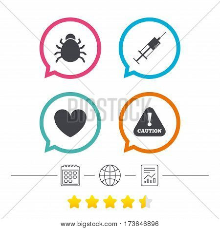 Bug and vaccine syringe injection icons. Heart and caution with exclamation sign symbols. Calendar, internet globe and report linear icons. Star vote ranking. Vector