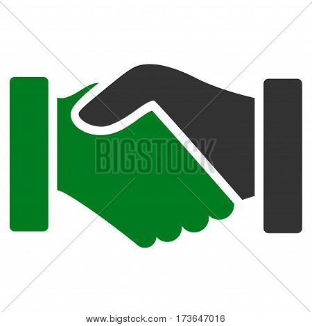 Acquisition Handshake vector icon. Flat bicolor green and gray symbol. Pictogram is isolated on a white background. Designed for web and software interfaces.