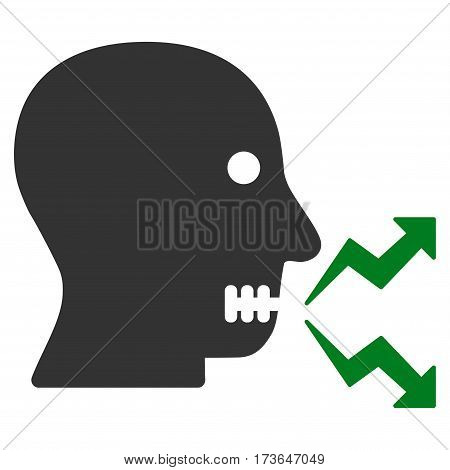 Angry Person Shout vector icon. Flat bicolor green and gray symbol. Pictogram is isolated on a white background. Designed for web and software interfaces.