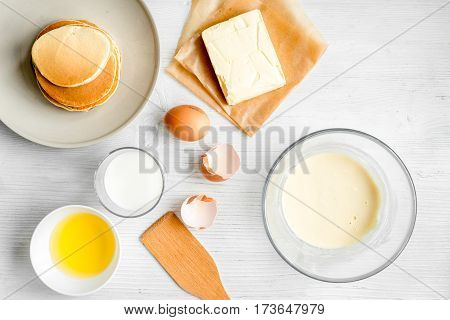 cooking pancake on white background top view ingredients for making .