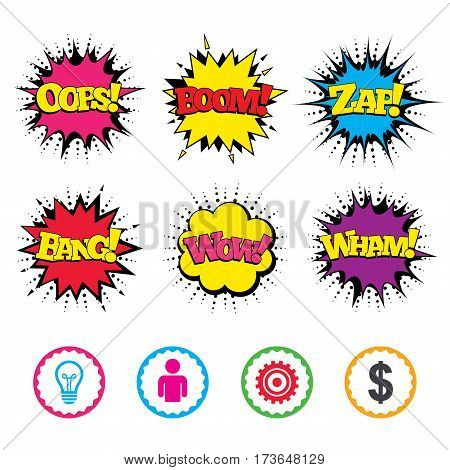 Comic Wow, Oops, Boom and Wham sound effects. Business icons. Human silhouette and lamp bulb idea signs. Dollar currency and gear symbols. Zap speech bubbles in pop art. Vector