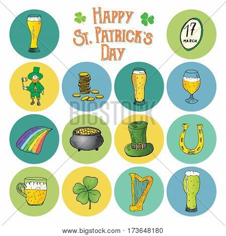 St Patricks Day hand drawn doodle icons set with leprechaun pot of gold coins rainbow beer four leaf clover horseshoe celtic harp and flag of Ireland vector illustration isolated on white
