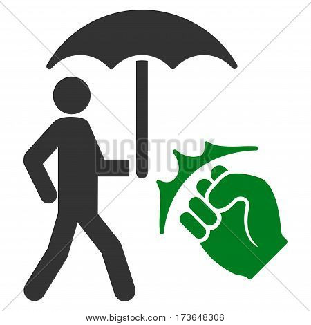 Crime Coverage vector icon. Flat bicolor green and gray symbol. Pictogram is isolated on a white background. Designed for web and software interfaces.