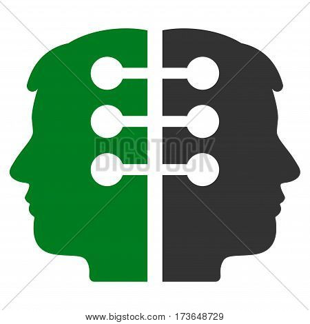 Dual Head Interface vector icon. Flat bicolor green and gray symbol. Pictogram is isolated on a white background. Designed for web and software interfaces.