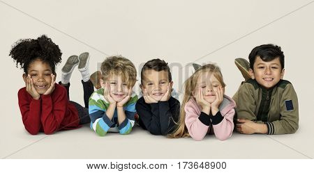 Little Children Laying Down Cheerful