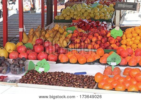 Variety of Fruits at Farmers Market Stall