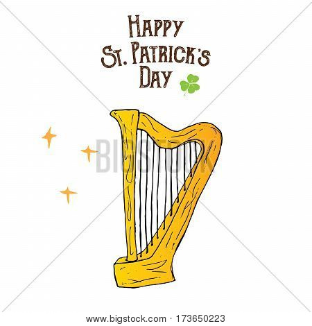 St Patricks Day hand drawn doodle celtic harp vector illustration isolated on white.