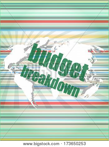 Business Concept: Words Budget Breakdown On Digital Screen