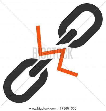 Broken Chain Link vector icon. Flat bicolor orange and gray symbol. Pictogram is isolated on a white background. Designed for web and software interfaces.
