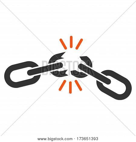Chain Damage vector icon. Flat bicolor orange and gray symbol. Pictogram is isolated on a white background. Designed for web and software interfaces.