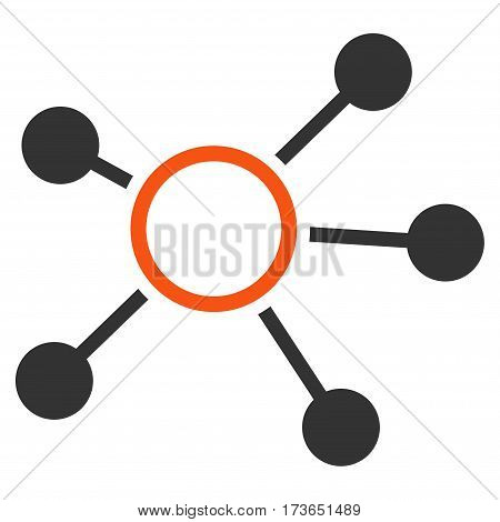 Connections vector icon. Flat bicolor orange and gray symbol. Pictogram is isolated on a white background. Designed for web and software interfaces.