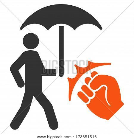 Crime Coverage vector icon. Flat bicolor orange and gray symbol. Pictogram is isolated on a white background. Designed for web and software interfaces.