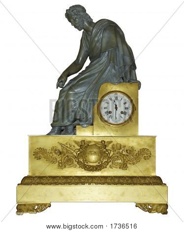 Ancient Clock With A Statue Of The Thinker