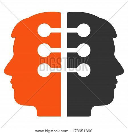 Dual Head Interface vector icon. Flat bicolor orange and gray symbol. Pictogram is isolated on a white background. Designed for web and software interfaces.