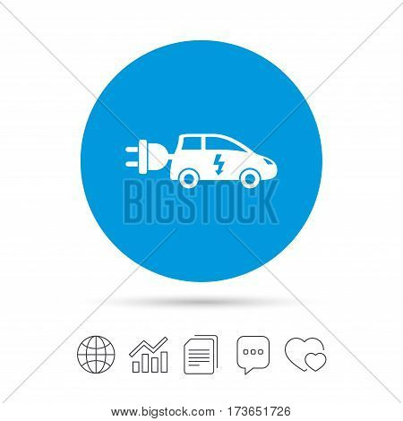 Electric car sign icon. Hatchback symbol. Electric vehicle transport. Copy files, chat speech bubble and chart web icons. Vector