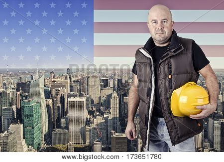 Construction worker New York city in background.