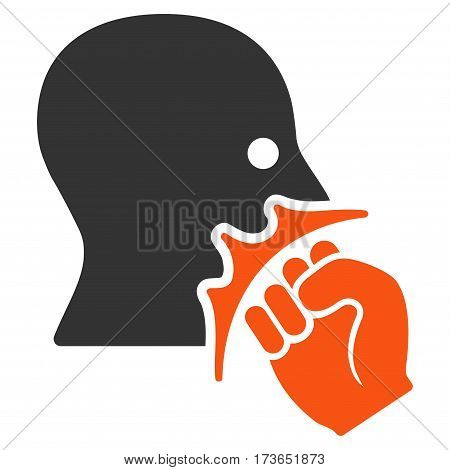 Face Violence Strike vector icon. Flat bicolor orange and gray symbol. Pictogram is isolated on a white background. Designed for web and software interfaces.