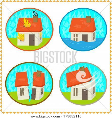Four icons of a home in a natural disaster. Eps10