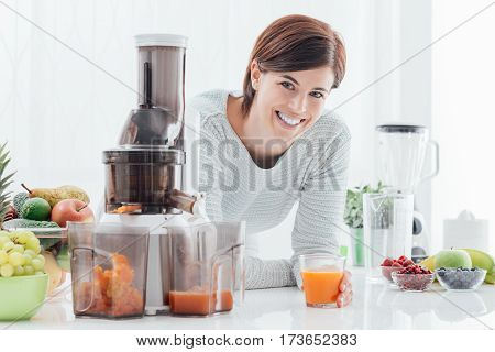 Woman Preparing Healthy Drinks