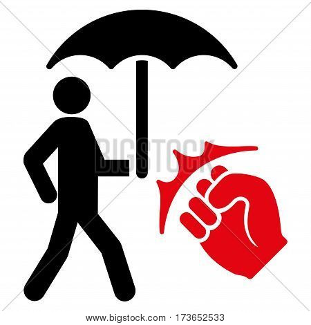 Crime Coverage vector icon. Flat bicolor intensive red and black symbol. Pictogram is isolated on a white background. Designed for web and software interfaces.