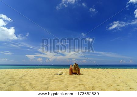 Classy woman on the beach in Thailand