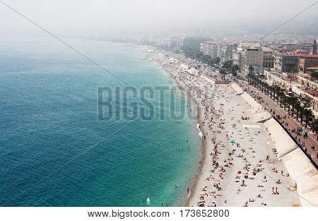 breathtaking aerial view of coast in Nice, France