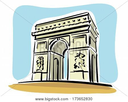 vector Illustration of the Arc de Triomphe in Paris