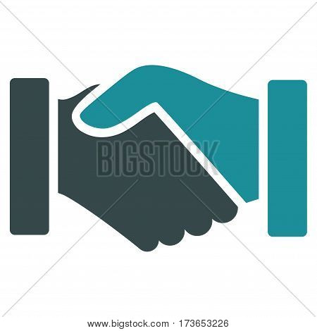 Acquisition Handshake vector icon. Flat bicolor soft blue symbol. Pictogram is isolated on a white background. Designed for web and software interfaces.