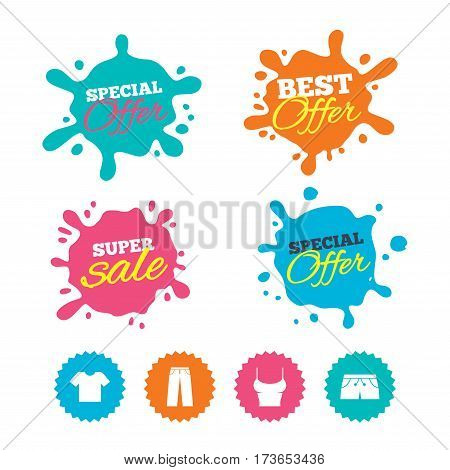 Best offer and sale splash banners. Clothes icons. T-shirt and pants with shorts signs. Swimming trunks symbol. Web shopping labels. Vector