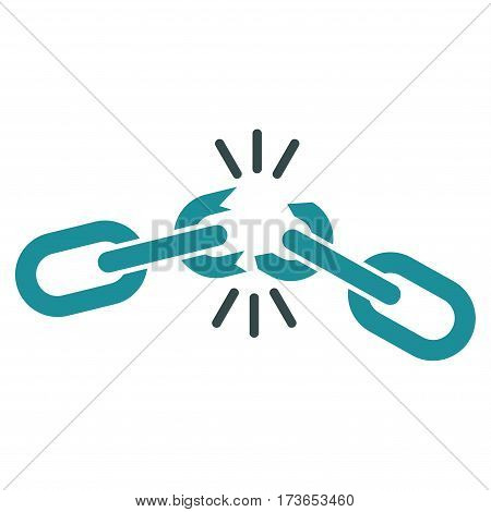 Chain Damage vector icon. Flat bicolor soft blue symbol. Pictogram is isolated on a white background. Designed for web and software interfaces.