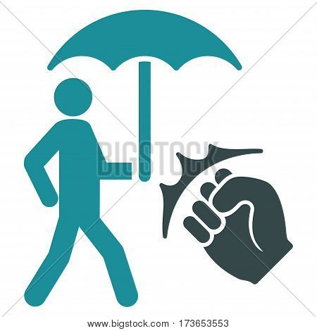 Crime Coverage vector icon. Flat bicolor soft blue symbol. Pictogram is isolated on a white background. Designed for web and software interfaces.