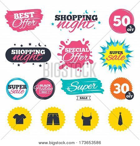 Sale shopping banners. Special offer splash. Clothes icons. T-shirt and bermuda shorts signs. Business tie symbol. Web badges and stickers. Best offer. Vector