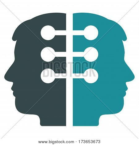 Dual Head Interface vector icon. Flat bicolor soft blue symbol. Pictogram is isolated on a white background. Designed for web and software interfaces.